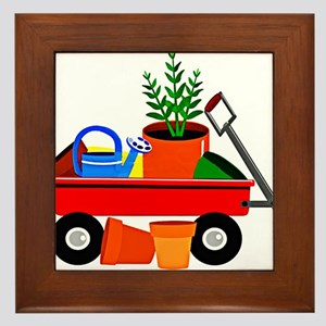 Red Wagon with Plants GArden Tools co Framed Tile