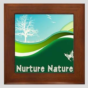 Nurture Nature Rolling Grass Sky Trees Framed Tile