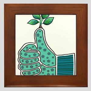 Green Thumb Gardening Glove Framed Tile