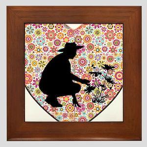 Flower Heart and Gardener Silhouette Framed Tile
