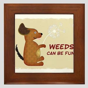 Doggy Dandelion Weeds Fun Framed Tile