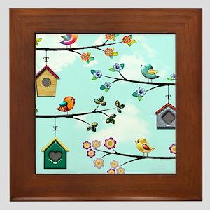 Birdies Houses copy Framed Tile