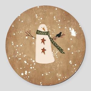 Primitive Snowman Round Car Magnet