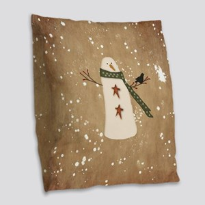 Primitive Snowman Burlap Throw Pillow
