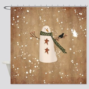 Primitive Snowman Shower Curtain