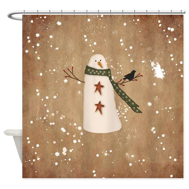 Country Christmas Bathroom Sets: Primitive Snowman Shower Curtain By Mousefx