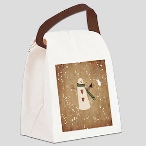 Primitive Snowman Canvas Lunch Bag