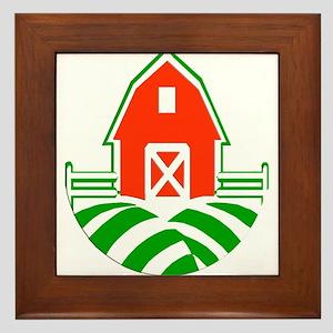 Red Barn and Green Fields Logo Framed Tile