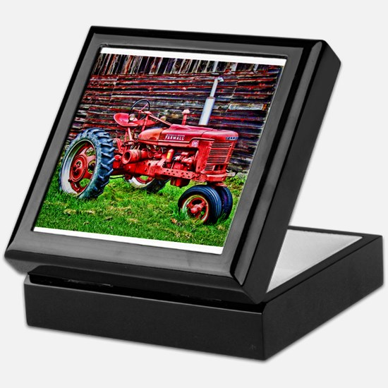 Red Tractor HDR Style Keepsake Box