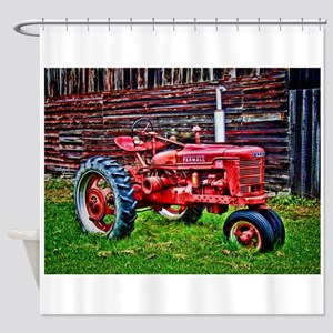 Red Tractor HDR Style Shower Curtain