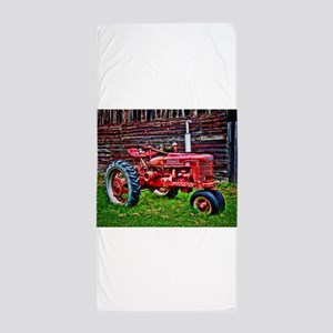 Red Tractor HDR Style Beach Towel