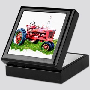 Red Tractor in the Grass Keepsake Box