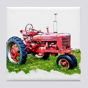 Red Tractor in the Grass Tile Coaster