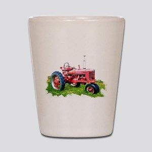Red Tractor in the Grass Shot Glass