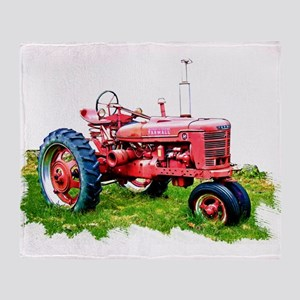 Red Tractor in the Grass Throw Blanket