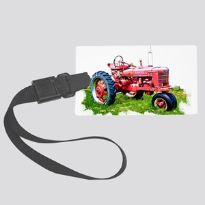 Red Tractor in the Grass Large Luggage Tag