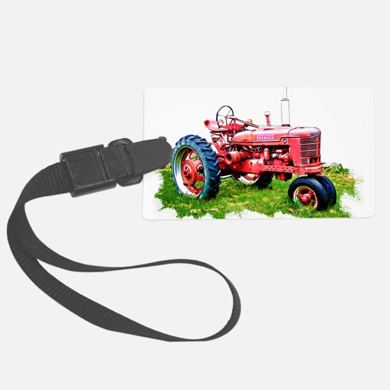 Red Tractor in the Grass Luggage Tag