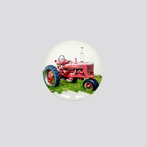 Red Tractor in the Grass Mini Button