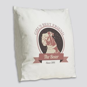Retro Boxer Dog Design Burlap Throw Pillow