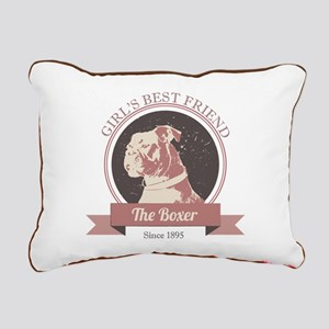 Retro Boxer Dog Design Rectangular Canvas Pillow