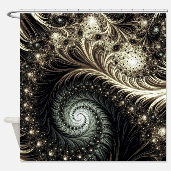 Cute Spiral fractal Shower Curtain