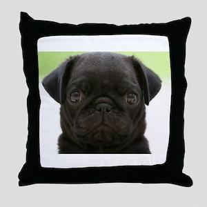 Black Pug Throw Pillow