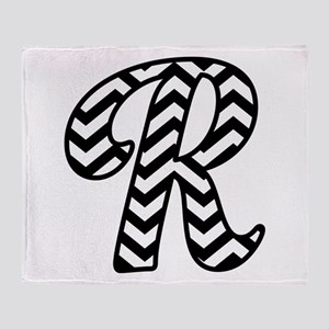 Letter R Chevron Monogram Throw Blanket