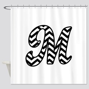 Letter M Chevron Monogram Shower Curtain
