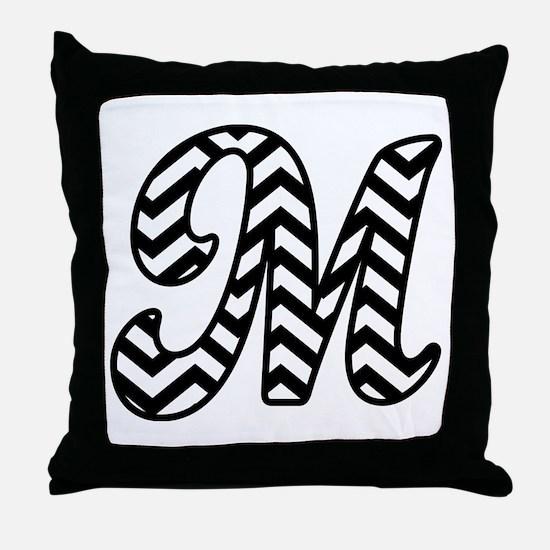 Letter M Chevron Monogram Throw Pillow