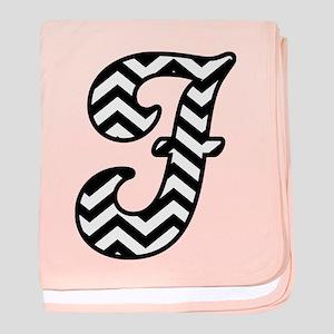 Letter F Chevron Monogram baby blanket