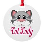 Cat Lady Gray Cat Ornament