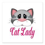 Cat Lady Gray Cat Square Car Magnet 3