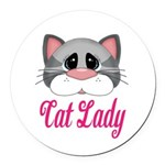 Cat Lady Gray Cat Round Car Magnet