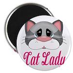 Cat Lady Gray Cat Magnets