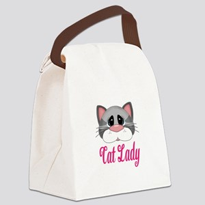 Cat Lady Gray Cat Canvas Lunch Bag