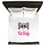 Cat Lady Gray Cat King Duvet