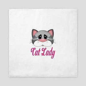 Cat Lady Gray Cat Queen Duvet