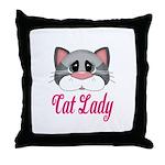 Cat Lady Gray Cat Throw Pillow