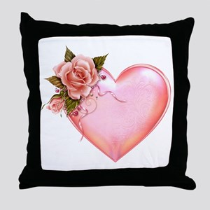 Romantic Hearts Throw Pillow