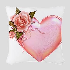 Romantic Hearts Woven Throw Pillow