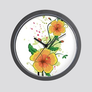 Two Hibiscus Wall Clock