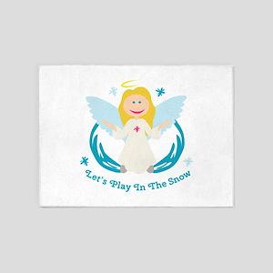 Snow Play Angel 5'x7'Area Rug