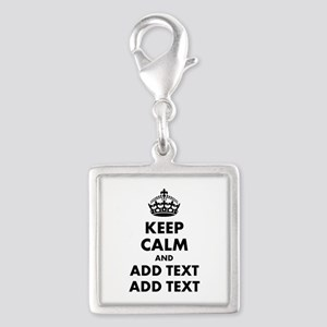 Personalized Keep Calm Silver Square Charm