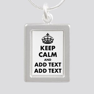 Personalized Keep Calm Silver Portrait Necklace