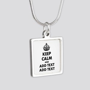 Personalized Keep Calm Silver Square Necklace