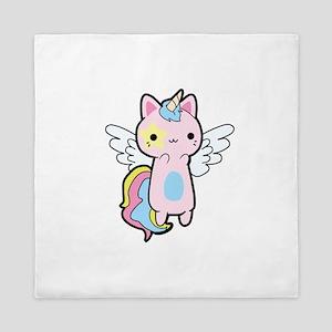 Cat Unicorn Fly Kawaii Queen Duvet