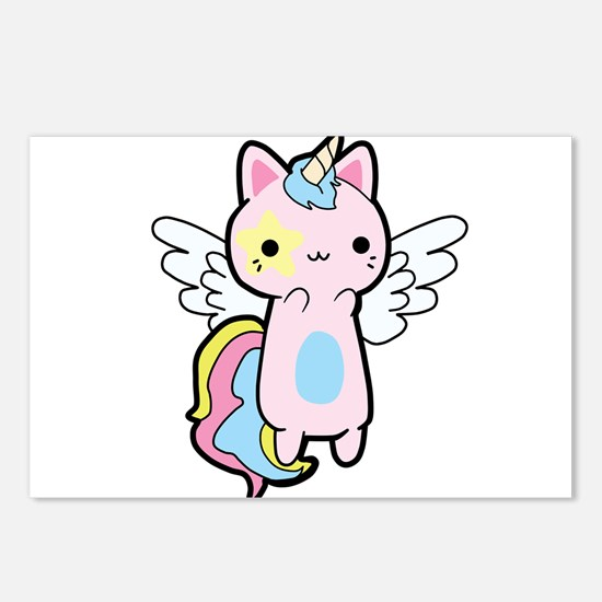 Cat Unicorn Fly Kawaii Postcards (Package of 8)