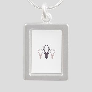 Deer Antler Head Silhouettes Necklaces