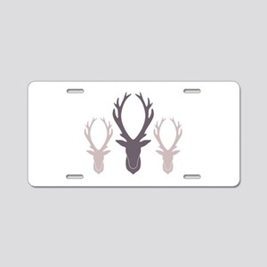 Deer Antler Head Silhouettes Aluminum License Plat