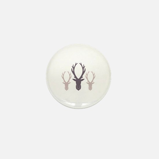 Deer Antler Head Silhouettes Mini Button